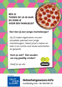 flyer pizzadate Jonge Mantelzorgers Delft 15 maart 2018